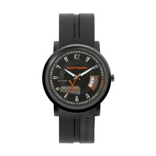 Hush Puppies Men's Black Dial Black Silicon Strap Watch HP.7067M.9502
