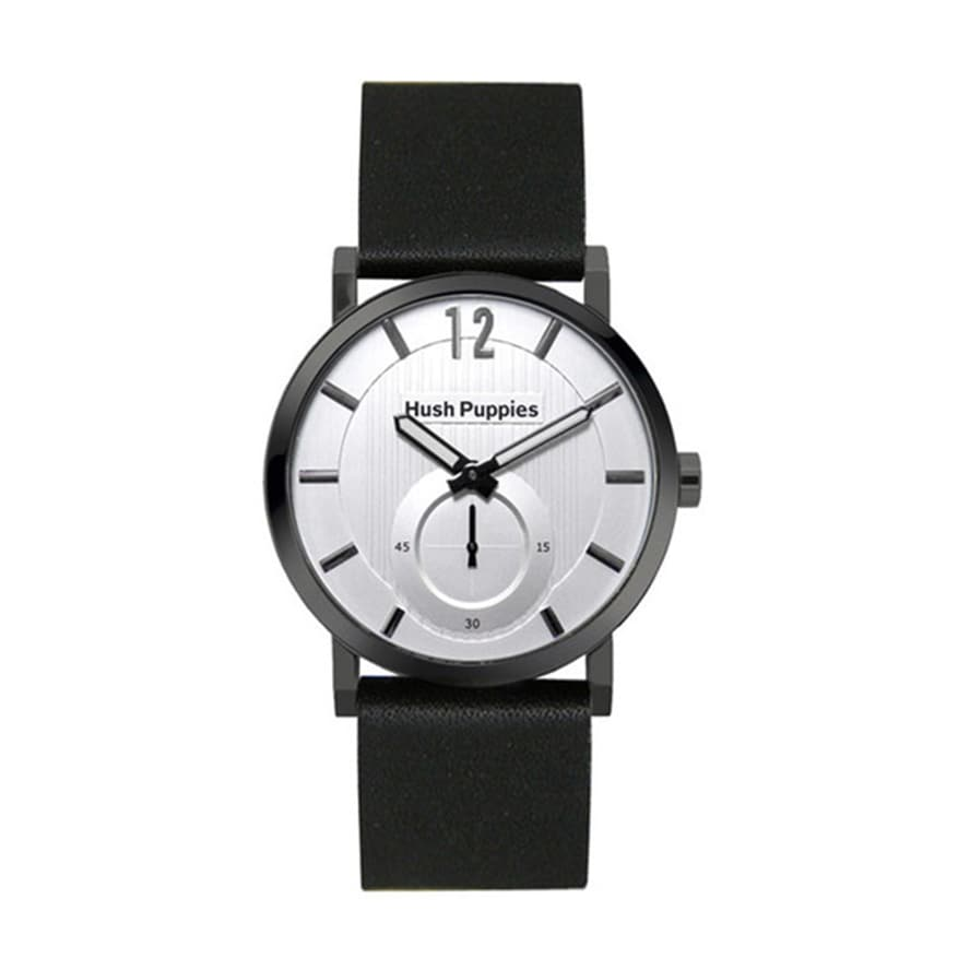 Hush Puppies Men's Silver Dial Black Genuine Leather Watc...