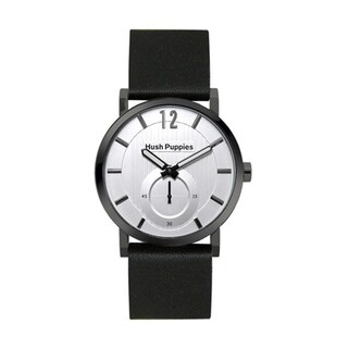 Hush Puppies Men's Silver Dial Black Genuine Leather Watch HP.3628M.2522