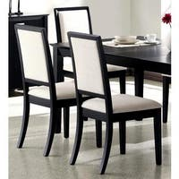 Prestige Cream Upholstered Black Wood Dining Chairs (Set of 2)