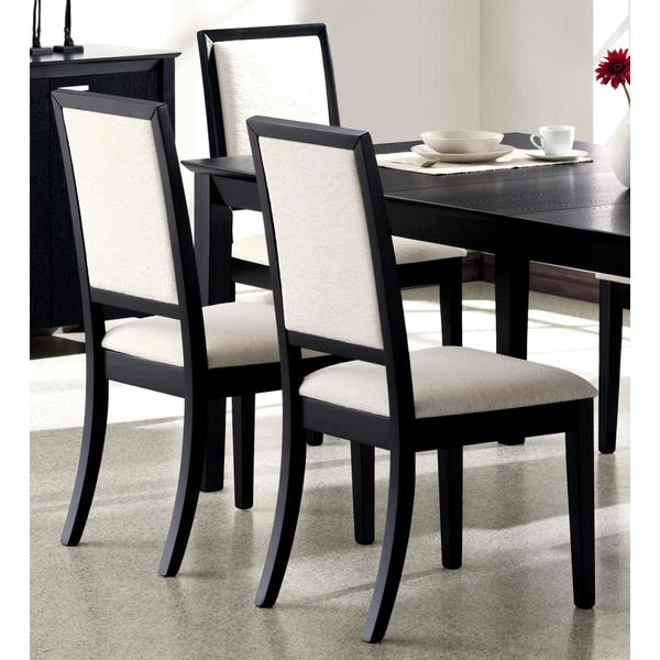 shop prestige cream upholstered black wood dining chairs set of 2 free shipping today. Black Bedroom Furniture Sets. Home Design Ideas