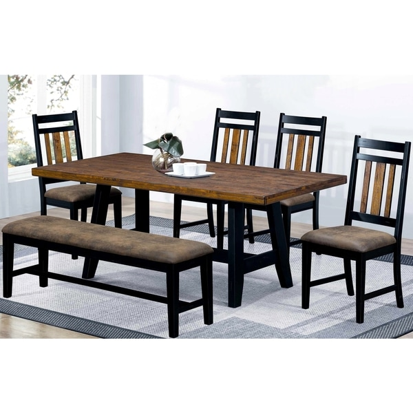 monica country style plank design two tone dining set free shipping today. Black Bedroom Furniture Sets. Home Design Ideas