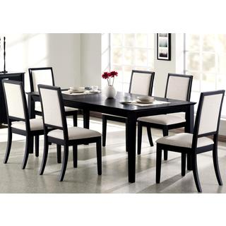 Prestige Cream/ White Upholstered Black Wood Dining Set