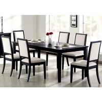 Prestige Cream White Upholstered Black Wood Dining Set