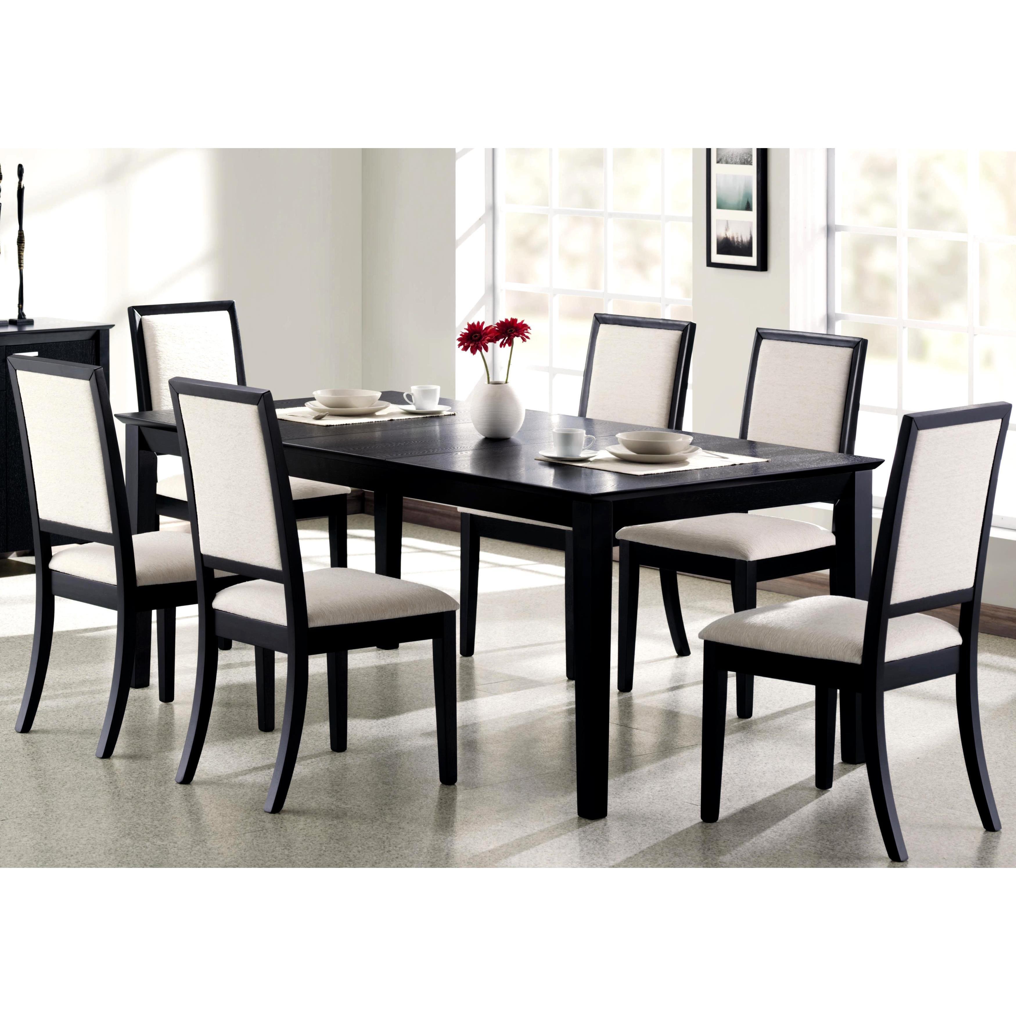 Prestige Cream White Upholstered Black Wood Dining Set Overstock 10691278