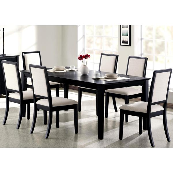 White Dining Room Table And Chairs: Shop Prestige Cream White Upholstered Black Wood Dining