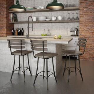Amisco Dock Swivel Metal and Wood Barstool