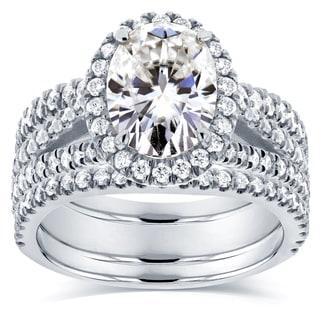 Annello by Kobelli 14k White Gold 2 2/5ct TGW Moissanite (HI) and Diamond Oval Halo Split Shank Bridal Rings Set (3pc Set)