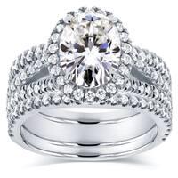 Annello by Kobelli 14k White Gold 2 2/5ct TGW Moissanite and Diamond Oval Halo Split Shank Bridal Rings Set (3pc Set)