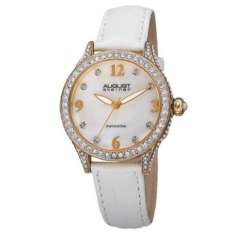 August Steiner Women's Quartz Swarovski Crystals & Diamond Leather White Strap Watch