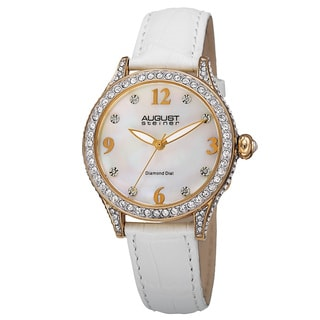 August Steiner Women's Quartz Swarovski Crystals & Diamond Leather White Strap Watch