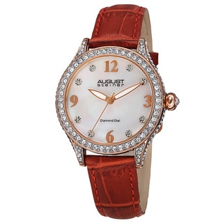 August Steiner Women's Quartz Swarovski Crystals & Diamond Leather Red Strap Watch