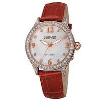 August Steiner Women's Quartz Swarovski Elements Crystals & Diamond Leather Red Strap Watch