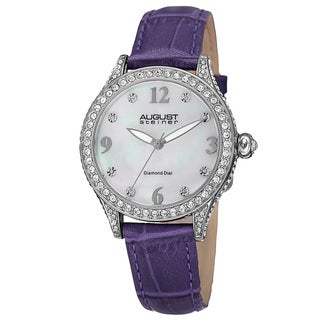 August Steiner Women's Quartz Swarovski Crystals & Diamond Leather Purple Strap Watch
