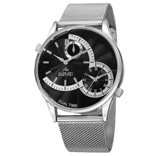August Steiner Men's Quartz Dual-Time Stainless Steel Mesh Silver-Tone Bracelet Watch