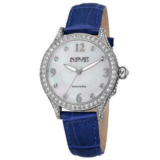 August Steiner Women's Quartz Swarovski Crystals & Diamond Leather Blue Strap Watch