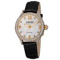 August Steiner Women's Quartz Swarovski Crystals & Diamond Leather Black Strap Watch