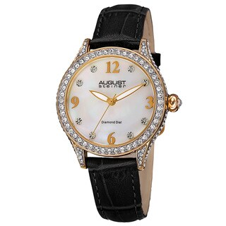 August Steiner Women's Quartz Swarovski Crystal Elements & Diamond Leather Black Strap Watch with FREE GIFT