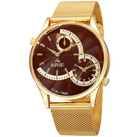 August Steiner Men's Quartz Dual-Time Stainless Steel Mesh Gold-Tone Bracelet Watch