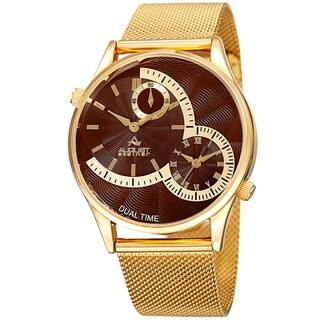August Steiner Men's Quartz Dual-Time Stainless Steel Mesh Gold-Tone Bracelet Watch with FREE GIFT (Option: Brown)|https://ak1.ostkcdn.com/images/products/10693174/P17755217.jpg?impolicy=medium