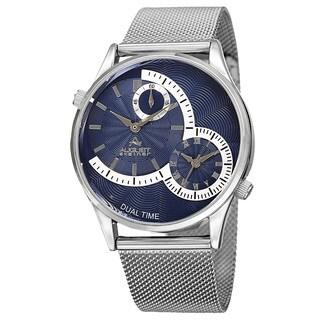 August Steiner Men's Quartz Dual-Time Stainless Steel Mesh Silver-Tone Bracelet Watch - Blue