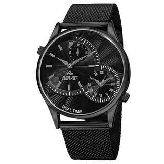 August Steiner Men's Quartz Dual-Time Stainless Steel Mesh Black Bracelet Watch