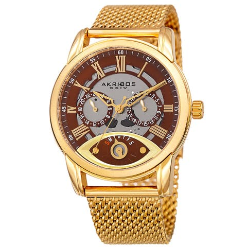 Akribos XXIV Men's Multifunction Step Dial Stainless Steel Mesh Gold-Tone Bracelet Watch - Gold