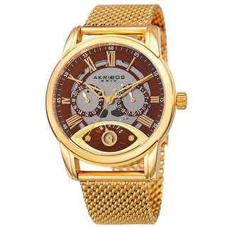 Akribos XXIV Men's Multifunction Step Dial Stainless Steel Mesh Gold-Tone Bracelet Watch