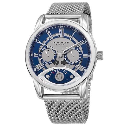 Akribos XXIV Men's Multifunction Step Dial Stainless Steel Mesh Silver-Tone Bracelet Watch - Blue
