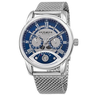 Akribos XXIV Men's Multifunction Step Dial Stainless Steel Mesh Silver-Tone Bracelet Watch - BLue