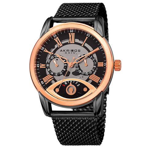 Akribos XXIV Men's Multifunction Step Dial Stainless Steel Mesh Black Bracelet Watch