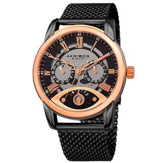 Akribos XXIV Men's Multifunction Step Dial Stainless Steel Mesh Black Bracelet Watch
