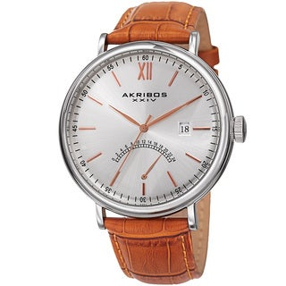 Akribos XXIV Men's Quartz Retrograde GMT Leather Silver-Tone Strap Watch - ORANGE
