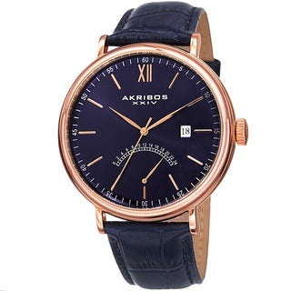 Akribos XXIV Men's Quartz Retrograde GMT Leather Rose-Tone Strap Watch with Gift Box - Blue