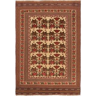 ecarpetgallery Ghafkazi Brown/ Yellow Wool Sumak (6' x 9')