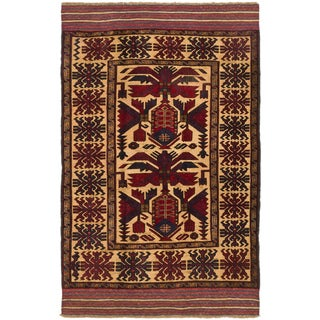 ecarpetgallery Tajik Tribal Red/ Yellow Wool Rug (4' x 6')
