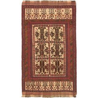 ecarpetgallery Ghafkazi Beige/ Red Wool Sumak (5' x 9')