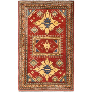 ecarpetgallery Finest Gazni Red/ Yellow Wool Rug (3' x 5')