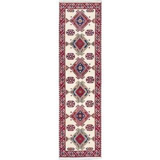 ecarpetgallery Royal Kazak Beige/ Red Wool Rug (2' x 9')