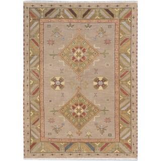 ecarpetgallery Royal Kazak Beige/ Green Wool Rug (5' x 7')