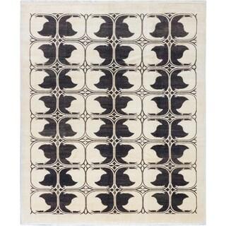 ecarpetgallery Peshawar Ziegler Beige/ Black Wool Rug (8' x 9')