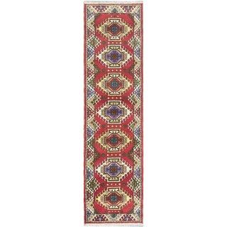 ecarpetgallery Oriental Kazak Red Wool Rug (2' x 9')