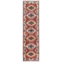 ecarpetgallery Oriental Kazak Red Wool Rug - 2' x 9'