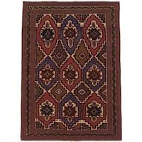 ecarpetgallery Tajik Caucasian Blue/ Red Wool Rug (6' x 9')