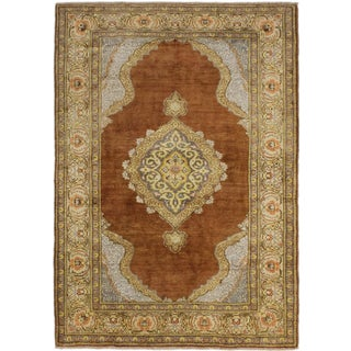 ecarpetgallery Antique Anatolian Brown/ Yellow Silk Rug (3' x 5')