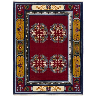 ecarpetgallery Aubousson Red Wool Rug (6' x 8')