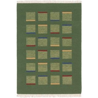 ecarpetgallery Tribal Gabbeh Green Wool Rug (4' x 6')