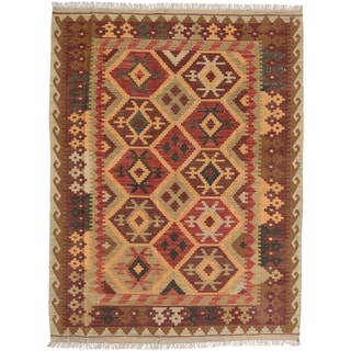 ecarpetgallery Sivas Orange/ Red Wool Rug (5' x 6')