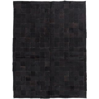 ecarpetgallery Cowhide Patch Black Leather Rug (4' x 6')