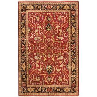 ecarpetgallery Serapi Heritage Black/ Red Wool Rug (5' x 9') - 5' x 9'